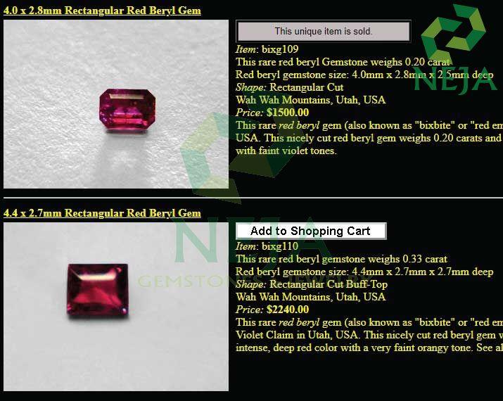 giá đá beryl đỏ