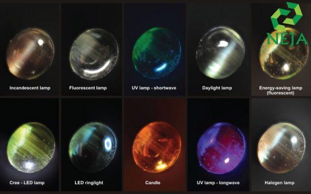 alexandrite thay đổi màu sắc dưới nhiều ánh sáng khác nhau