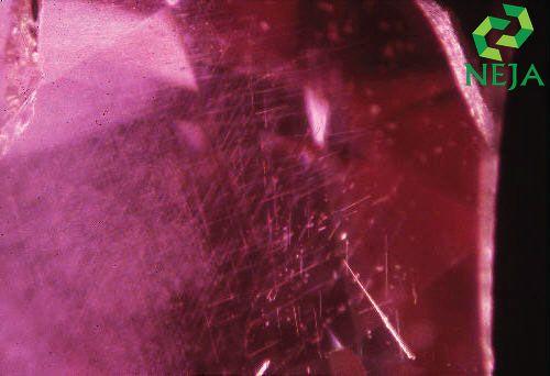 Các vùi tinh thể Rulite dạng kim trong Ruby dưới ống kính zoom