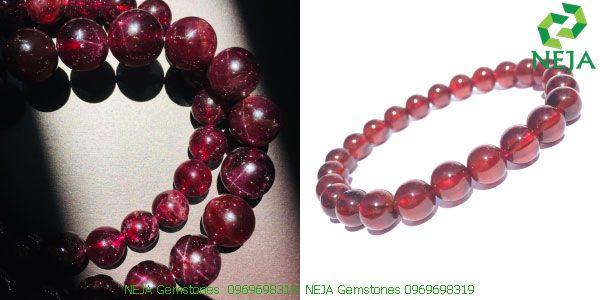 vòng tay đá garnet sao và garnet huyết cao cấp tại neja gemstones