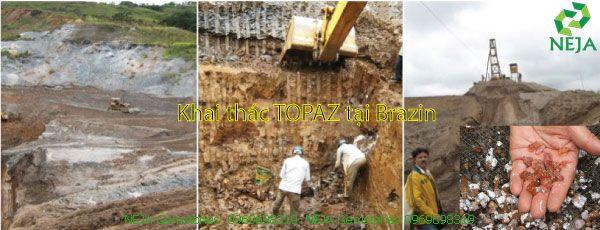 khai thác đá topaz thô tại brazil