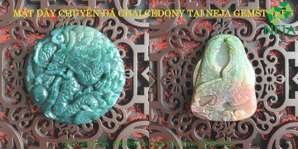 mặt dây chuyền rồng đại bàng đá canxedon xanh đỏ