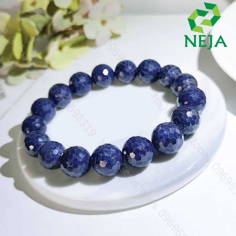 vòng tay đá sapphire xanh dương mài giác