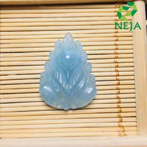 mặt dây chuyền hồ ly chúa đá aquamarine cao cấp