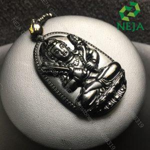 mặt dây chuyền phật bản mệnh hư không tạng bồ tát đá obsidian đen