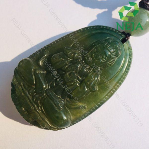 mặt dây chuyền phật bản mệnh như lai đại nhật bồ tát đá canxedon xanh rêu