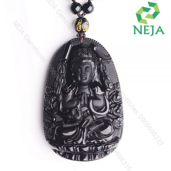 mặt dây chuyền phật bản mệnh thiên thủ thiên nhãn bồ tát đá obsidian đen