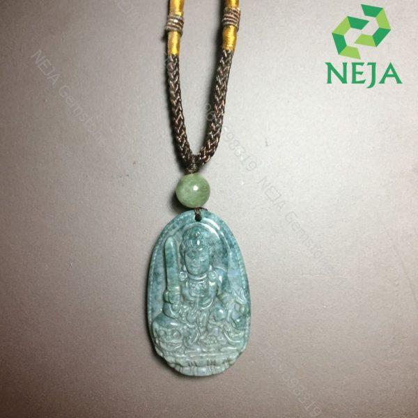 mặt dây chuyền phật bản mệnh văn thù bồ tát đá chalcedony xanh rêu