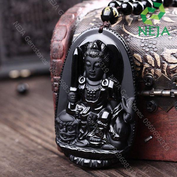 mặt dây chuyền phật bản mệnh văn thù bồ tát đá obsidian đen