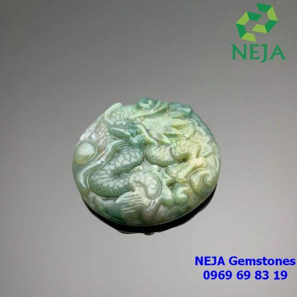 mặt dây chuyền ngọc bội hình rồng đá Chalcedony xanh