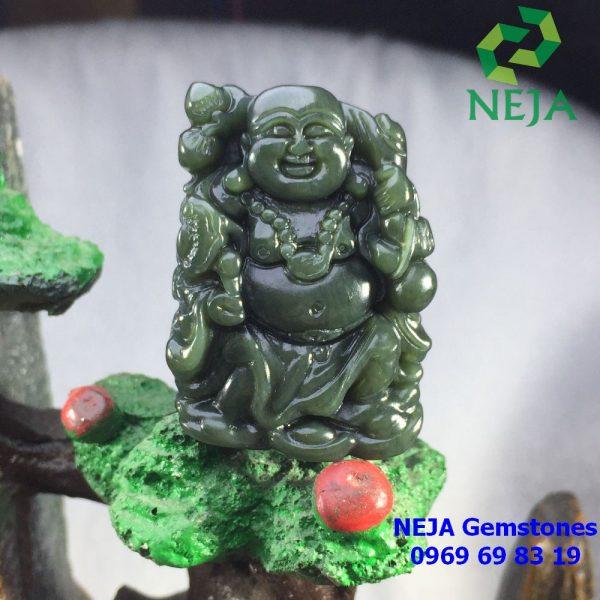 Phật di lặc ngọc bích canada vai quẩy đào tay cầm túi tiền