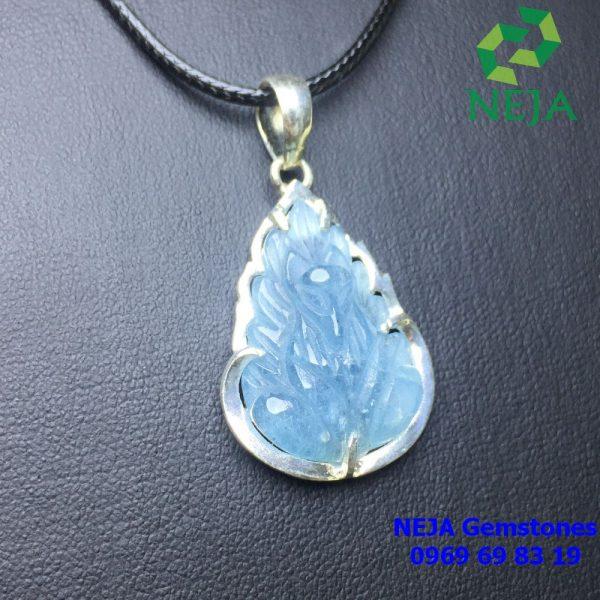 Mặt dây chuyền Bạc hồ ly chúa đá Aquamarine