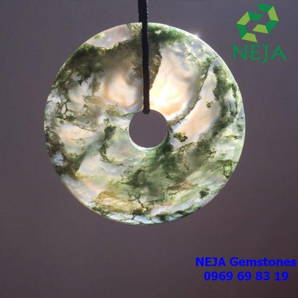 mặt dây chuyền đồng điếu đá mã não rêu băng ngọc thủy tảo