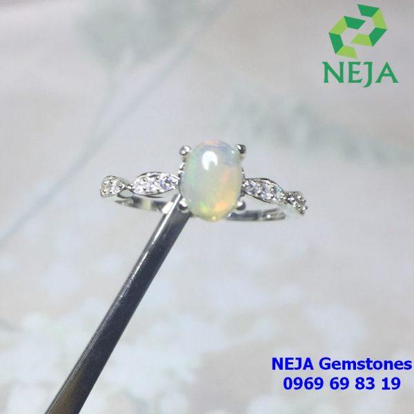 Nhẫn đá Opal úc bạc cao cấp