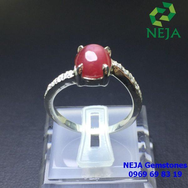 nhẫn bạc đá ruby