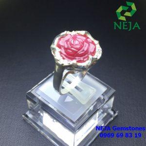 Nhẫn bạc nữ hoa mẫu đơn đá Ruby