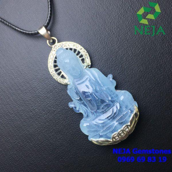 Phật bà quan âm đá Aquamarine bọc bạc