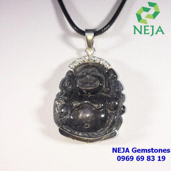 mặt dây chuyền phật di lặc đá sapphire đen sao bạc cao cấp
