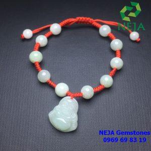 Vòng cẩm thạch tết dây đỏ phối mặt di lặc cẩm thạch
