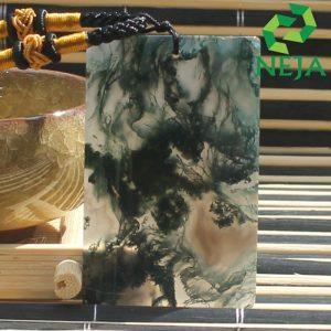 mặt dây chuyền băng ngọc thủy tảo vuông